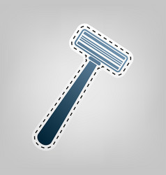 safety razor sign blue icon with outline vector image vector image