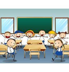 Children dancing inside the classroom vector image