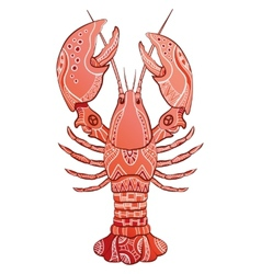 Decorative isolated lobster vector image