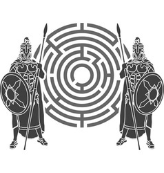 labyrinth and guards stencil vector image vector image