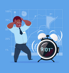 scared african american business man with alarm vector image