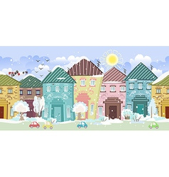 seamless border with cute houses and trees winter vector image vector image