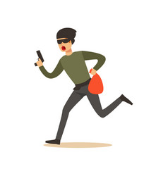 thief in a mask running with a gun and a sack vector image vector image