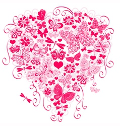 Valentine greeting pink card vector image