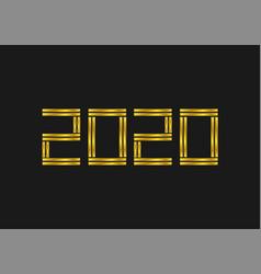 2020 golden numbers template vector image