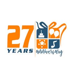 27 year gift box ribbon anniversa vector image