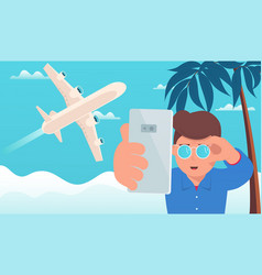 Airplane travel man makes selfie on background vector