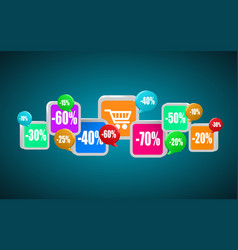 app icons mobile buying internet shopping or vector image