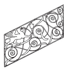 balaustrade of staircase panel is a 16th century vector image