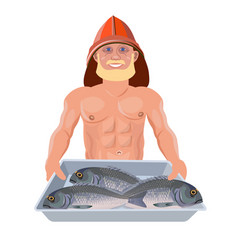 Bare chested man with tray fish vector