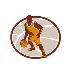 Basketball Player Dribbling Ball Oval Retro vector