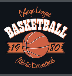 basketball typography emblem vector image