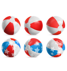beach balls inflatable toys for summer games set vector image