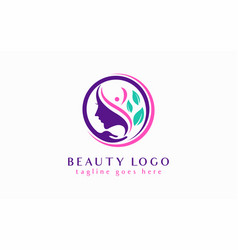 beauty logo design abstract women combine with vector image