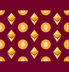 bitcoin and etherium seamless pattern crypto vector image