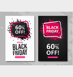 black friday sale flyers set discount posters vector image