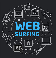 Black line flat circle web surfing vector