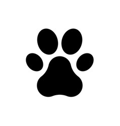 black paw print icon on white background flat vector image