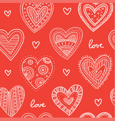 boho ornamental hearts seamless pattern red vector image