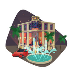 Building of casino or gaming house at night vector