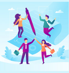 Business deal teamwork concept signed document vector