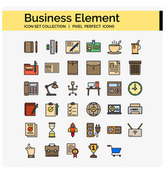 business element icons color vector image