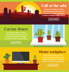 cactus space banner horizontal set flat style vector image