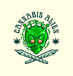 Cannabis alien join weed emblem vector
