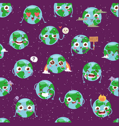 cartoon globe with emotion web icons green global vector image vector image