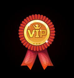 Cartoon vip red award ribbons gold medal vector