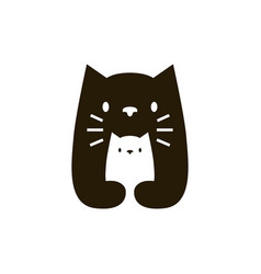 cat mom and son negative space logo icon vector image