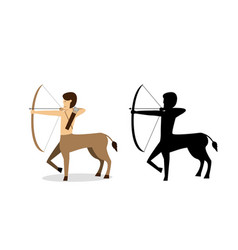 centaur archer in flat and silhouette style vector image