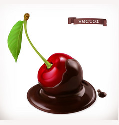 Cherry in chocolate 3d realistic icon vector