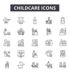 Chilcare line icons signs set outline vector