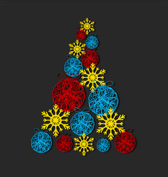 christmas tree made from snowflakes and vector image