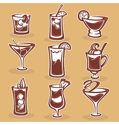 cocktails collection vector image