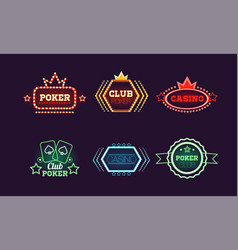 collection bright colorful neon signs casino vector image