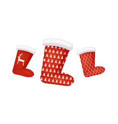 Collection of santa red socks with pattern vector