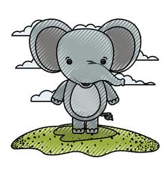 Color crayon silhouette scene caricature elephant vector