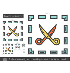 coupon cutting line icon vector image