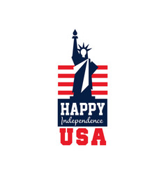 Creative logo with statue of liberty and us flag vector