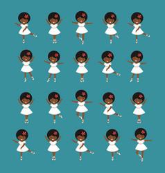Cute little ballerina girls dancing collection vector