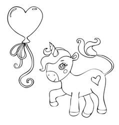 cute magical unicorn with a balloon cartoon vector image