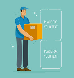 Delivery service courier holds box with parcel vector