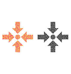 Dotted shrink arrows mosaic icons vector