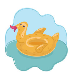 duck ring inflatable rubber vector image