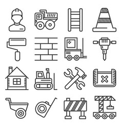 engineering building construction icons set on vector image