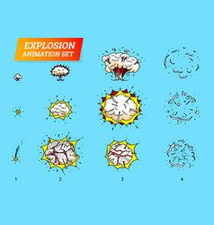 Explosions icons set on white background cartoon vector