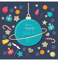 Festive Happy New Year card design vector image vector image