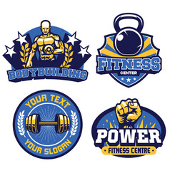 fitness and gym center badge design collection vector image